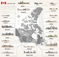 vector map of provinces and territories of Canada with largest cities and all states capitals skylines.  Location, navigation icons. All elements separated in detachable and labeled layers