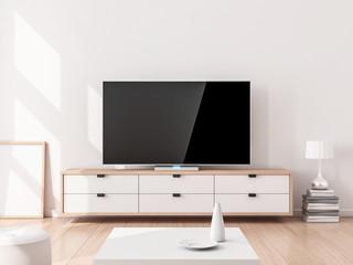 Smart Tv Mockup on stand, living room. 3d rendering