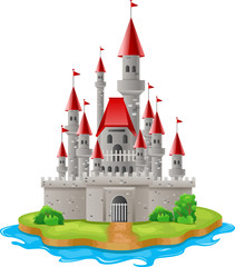 Illustration castles on the islands. Vector illustration