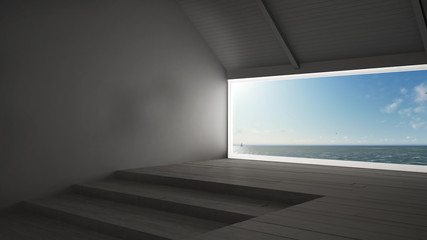 Big panoramic window with sea ocean background, summer scene, empty room interior design