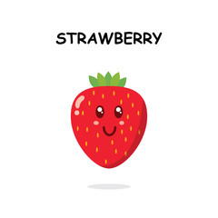 strawberry character in white background