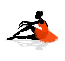silhouette di ballerina che si riposa