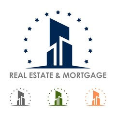 Real Estate and Mortgage Design Logo Vector Isolated, Building Was Surrounded Stars