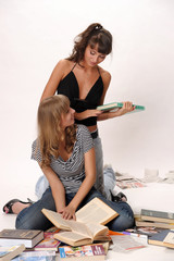 two girl student with books