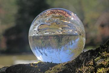 wald in kristallkugel, sense, bern, schweiz