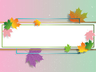 Colorful frame with maple leaf in vintage style. Vector frame or border. Abstract paper texture background with space to your text
