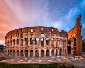 Roman Colosseum (Flavian Amphitheatre) in the Evening, Rome, Italy
