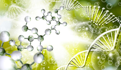 Image of molecular structure and chain of dna on blue background close up