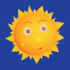 Vector sun for children. A cartoon hero. Bright, cheerful, yellow.