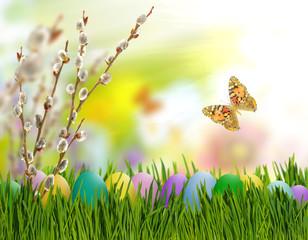 easter eggs in grass closeup