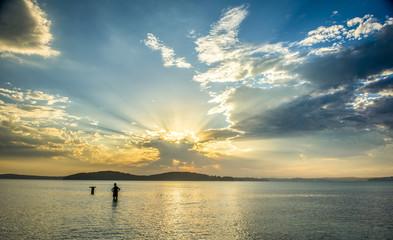 Beautiful sunset from beach near Sydney, Australia
