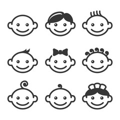 Baby Face Icons Set