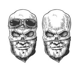 Skull with bandana human pattern