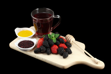 Forest fruits, tea and honey