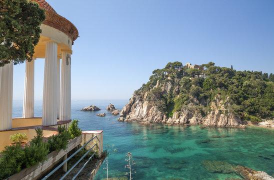 Temple and mediterranean sea view, Blanes, Costa Brava,Catalonia,Spain.