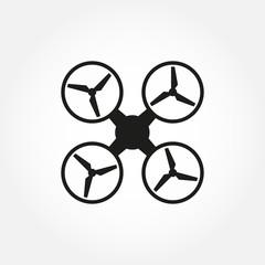 Drone icon. Copter or quadrocopter silhouette. Vector illustration.