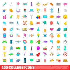 100 college icons set, cartoon style