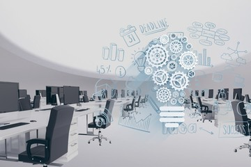 Digital composite image of modern office with tech graphics