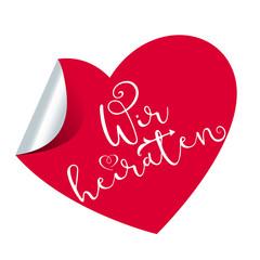 Wir heiraten - Herz Aufkleber Button