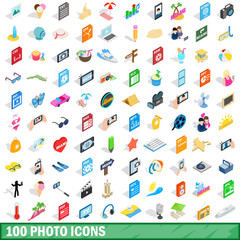 100 photo icons set, isometric 3d style