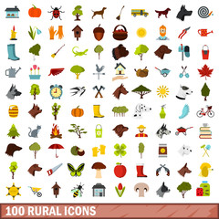 100 rural icons set, flat style