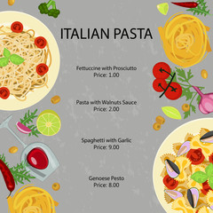 Pasta restaurant menu template with different macaroni and snaks. Vector illustration eps 10