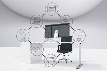 Digital composite image of various icons and computer in office