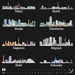 vector set of japanese city skylines on black background with location, navigation and travel icons; flag and map of Japan