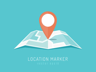 Orange location marker on city map vector illustration in flat style
