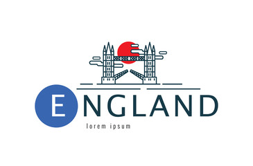 England logo. Tower Bridge scene. flat thin line design element. vector illustration