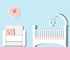 Baby room Flat. Nursery room Vector  illustration.