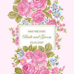 Embroidered floral frame with vintage roses and room for text on white background. Wedding invitation card. Vintage style. Template for your design.