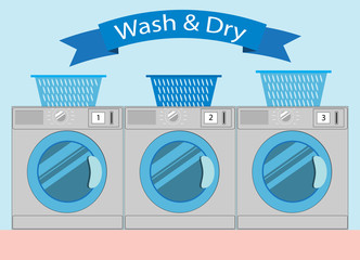 Line of industrial laundry machines in Flat style, laundromat wa