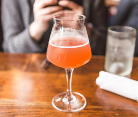 Kombucha Drink in Fancy Glass at Restaurant