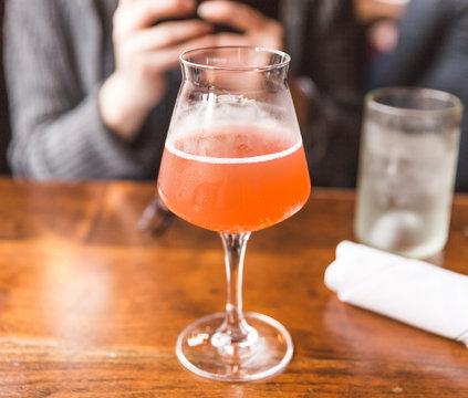 Kombucha Drink in Fancy Glass at Restaurant