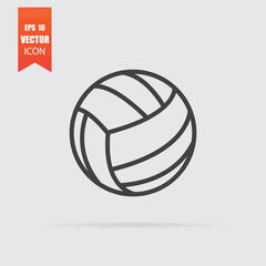 Volleyball ball icon in flat style isolated on grey background.
