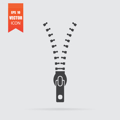 Zipper icon in flat style isolated on grey background.