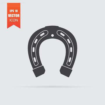 Horseshoe icon in flat style isolated on grey background.
