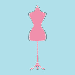 Mannequin shape with pearls. Flat Vector Illustration.