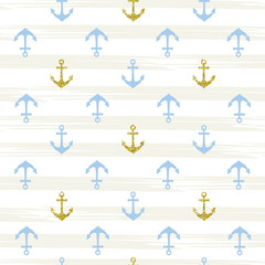 Blue and gold pattern background with anchor. Vector