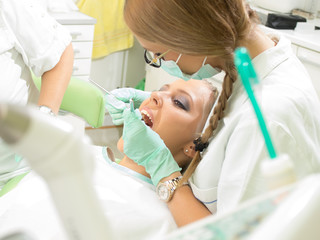 Girl having a dental examination