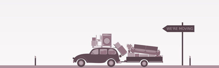 Relocation. Car with trailer and furniture. Sign : We're moving.
