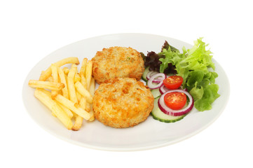 Fish cakes chips and salad