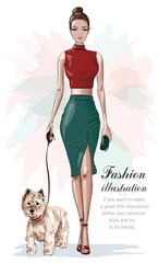 bb3c02714f3 Stylish woman in fashion clothes: red crop top and green skirt ...