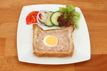 Pork and egg pie snack meal