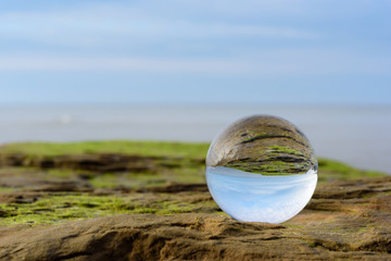 Seashore in crystal ball