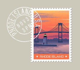 Rhode Island postage stamp design. Vector illustration of Newport Bridge and harbor lighthouse at sunrise. Grunge postmark on separate layer.