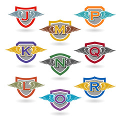 Set of letter badges with wings for logos, t-shirts, school or club crests. Letters j, k, l, m, n, o, p, q, r .