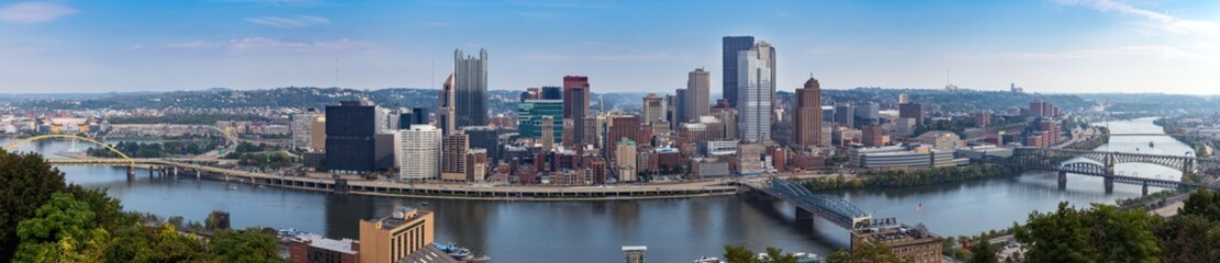 Panoramic view of Pittsburgh city skyline and Monongahela River from Mt. Washington