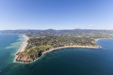 Aerial view of Point Dume and Westward Beach in scenic Malibu California.